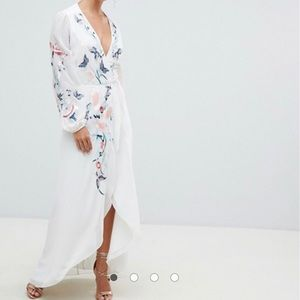ASOS Hope & Ivy Wrap Front Floral Embroidery Maxi